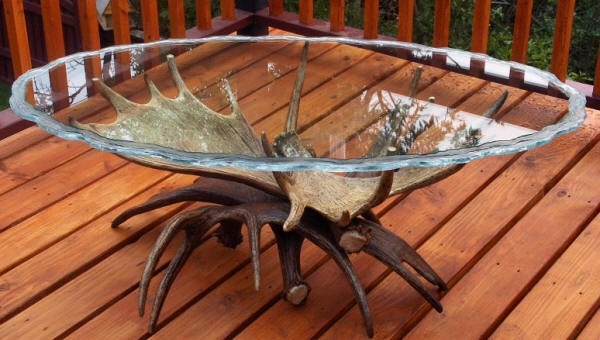 Handcrafted Medium Moose Antler Table With Four Medium Moose Antlers (View 10 of 40)