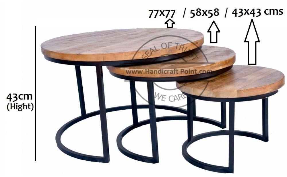 Handicraft Point – Nesting Tables Intended For Iron Wood Coffee Tables With Wheels (View 26 of 40)