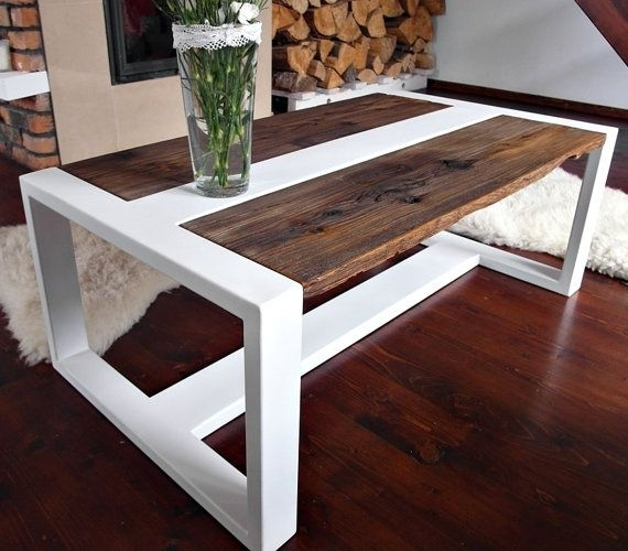 Handmade Reclaimed Wood & Steel Coffee Table – Modern Rustic Throughout Recycled Pine Stone Side Tables (View 27 of 40)
