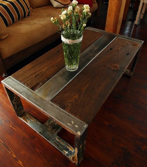Handmade Reclaimed Wood & Steel Coffee Table – Vintage Rustic Within Recycled Pine Stone Side Tables (View 14 of 40)