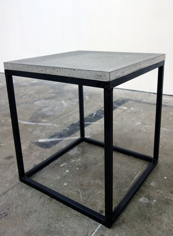 Handmade Steel Framed Table With Concrete Top (Steel Framed Stool Throughout Waxed Metal Coffee Tables (Image 15 of 40)