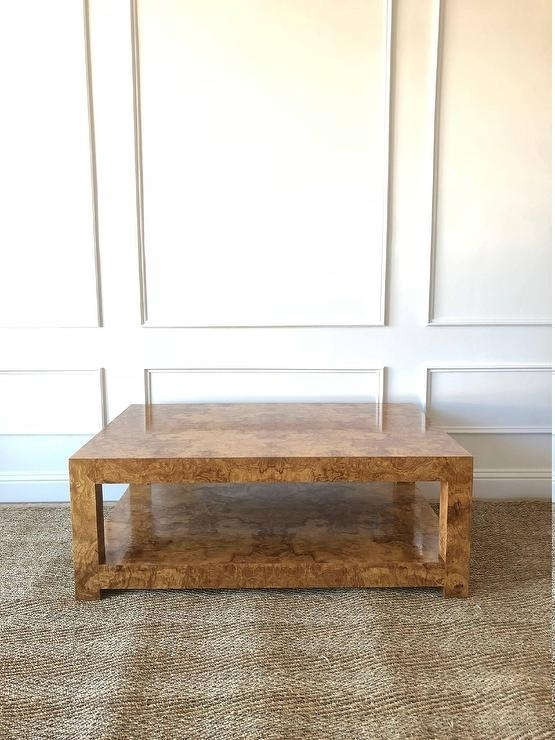 Hanover Burlwood Veneer Square Coffee Table Inside Oslo Burl Wood Veneer Coffee Tables (Photo 9 of 40)