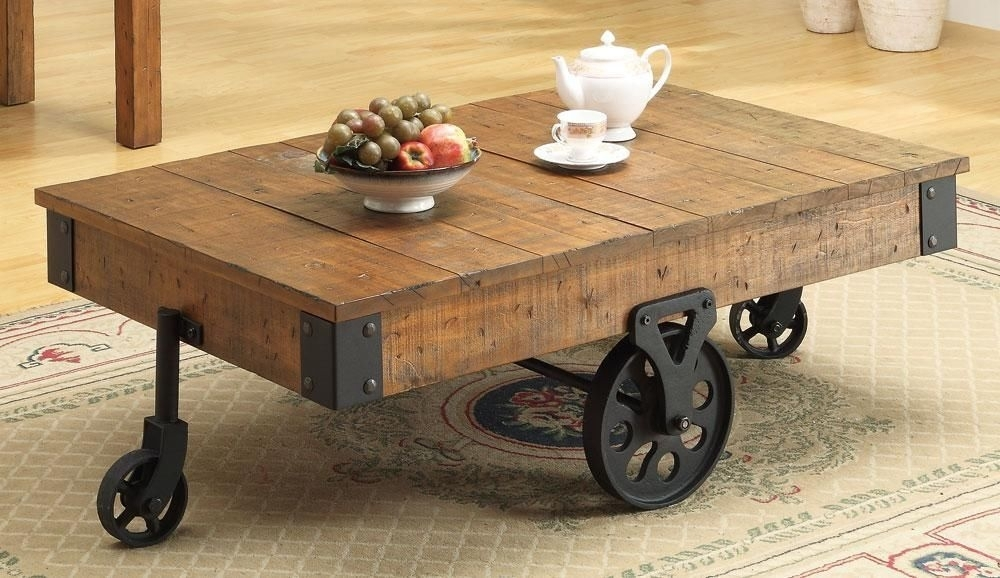 Featured Image of Iron Wood Coffee Tables With Wheels