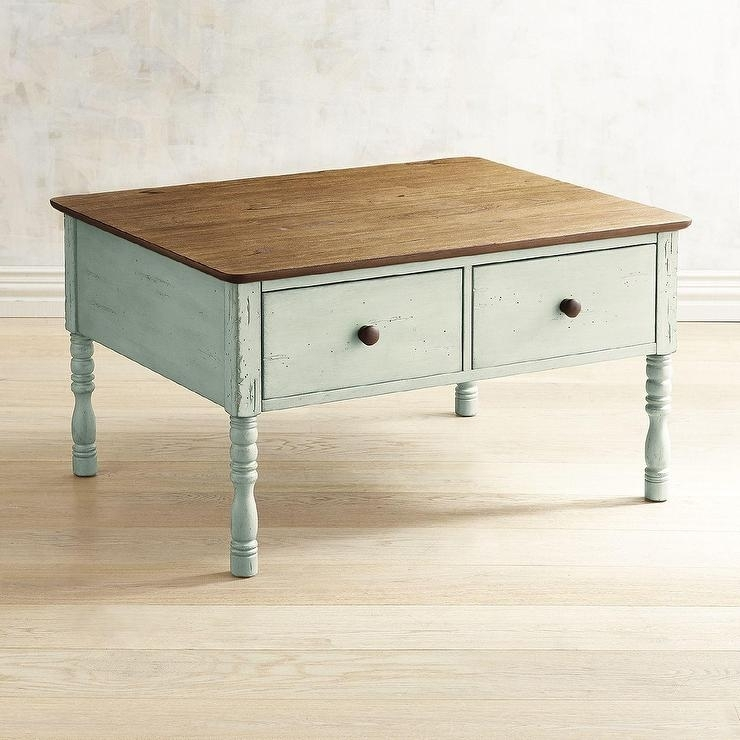 Haven Soft Green Pine Coffee Table For Natural Pine Coffee Tables (Image 15 of 40)