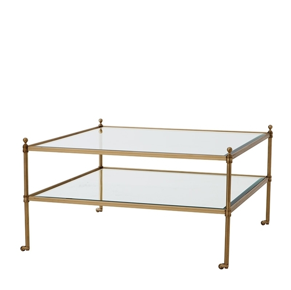 Hayworth Square Glass Coffee Table – 2 Finish Options – Aged Brass For Rectangular Brass Finish And Glass Coffee Tables (Photo 37 of 40)
