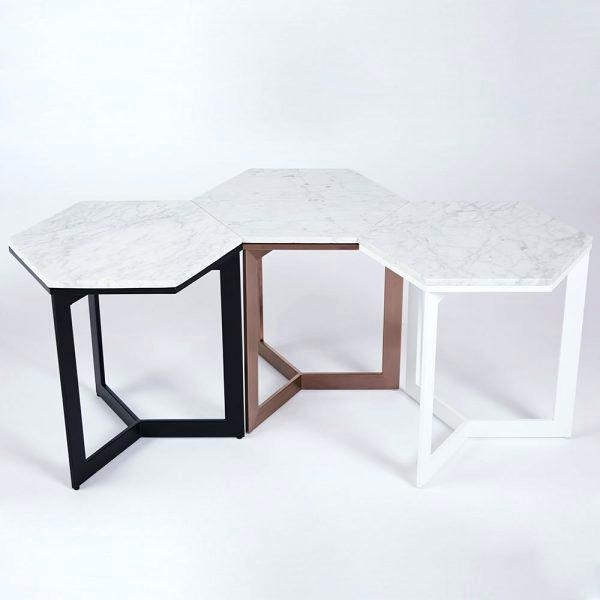 Hexagon Side Tables Interesting Table With Faceted Wood Coffee West Pertaining To Geo Faceted Coffee Tables (Image 17 of 31)