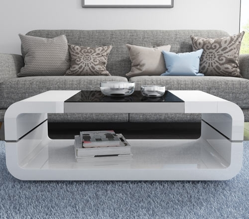 High Gloss White Curved Coffee Table With Black Glass Top – Tiffany With Regard To Contemporary Curves Coffee Tables (View 38 of 40)