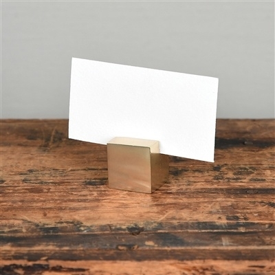 Homart Brass Cast Iron Cube Place Card Holder – Areohome With Regard To Brass Iron Cube Tables (Image 17 of 40)