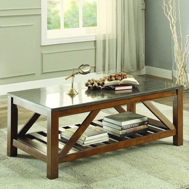 Homelegance Ashby Coffee Table, Bluestone Marble & Reviews | Wayfair Within Bluestone Rustic Black Coffee Tables (Photo 11 of 40)