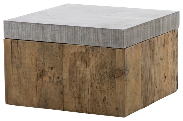 Hubbard Rustic Loft Reclaimed Wood Bluestone Square Bunching Coffee Within Bluestone Rustic Black Coffee Tables (View 13 of 40)