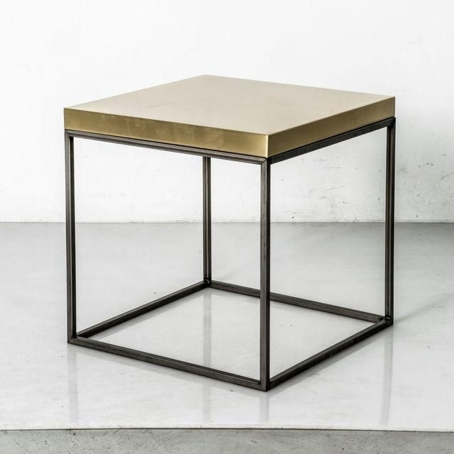 Image Of Satin Brass Top Cube Side Table | Sleeepin' | Pinterest Inside Brass Iron Cube Tables (Image 19 of 40)
