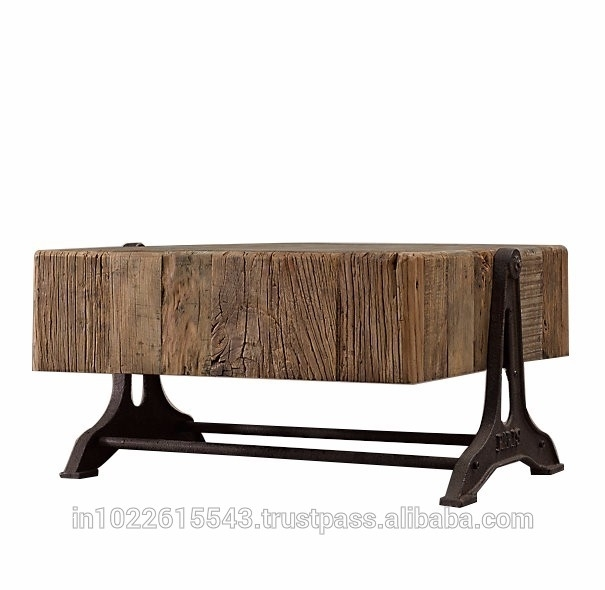 Industrial Cast Iron Base Reclaimed Holo Pine Top Coffee Table Inside Reclaimed Pine & Iron Coffee Tables (View 34 of 40)