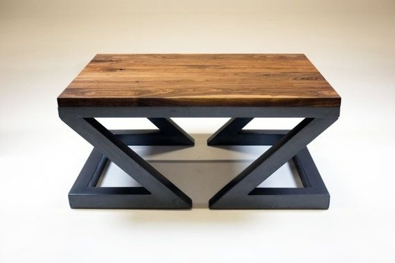Industrial Coffee Table, Solid Walnut And Steel, Handmade The Base Intended For 33 Inch Industrial Round Tables (Image 21 of 40)