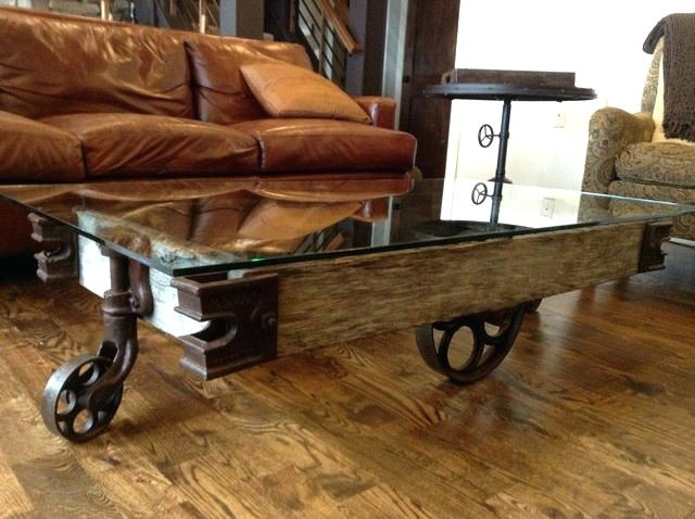 Industrial Coffee Table With Wheels Attractive Rustic Industrial For Modern Rustic Coffee Tables (View 34 of 40)