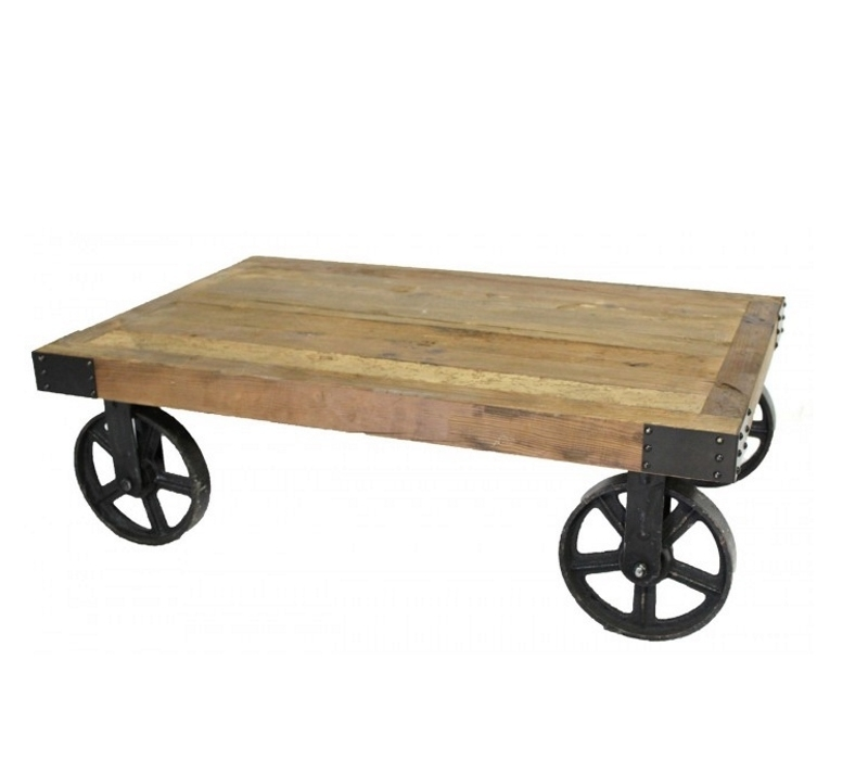 Industrial Mill Cart Coffee Table | Farmhouse And Cottage Pertaining To Mill Coffee Tables (Photo 14 of 40)