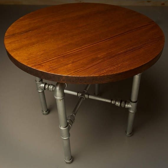 Industrial Plumbing Pipe Large Round Coffee Table Is Hand For 33 Inch Industrial Round Tables (Image 22 of 40)