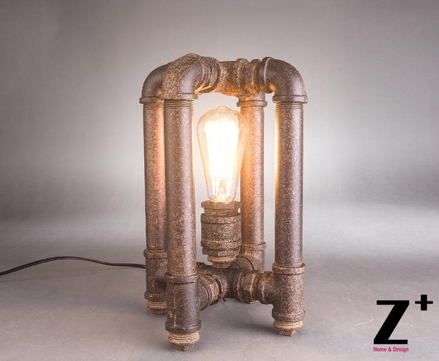 Industrial Style American Hand Made Diy Rustic Iron Water Pipe Cube Throughout Brass Iron Cube Tables (Image 20 of 40)