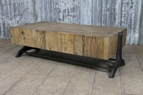 Industrial Style Coffee Table Reclaimed Pine Regarding Reclaimed Pine Coffee Tables (Image 15 of 40)