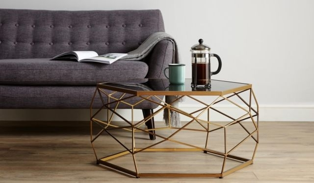 Industrial Style Geometric Coffee Table Glass Top Gold Brass Effect Regarding Rectangular Brass Finish And Glass Coffee Tables (Photo 21 of 40)