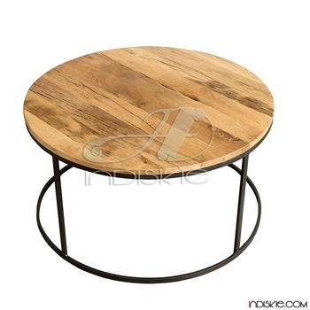 Industrial Vintage Furniture Round Coffee Table,metal And Wooden With Regard To Vintage Wood Coffee Tables (Image 11 of 40)