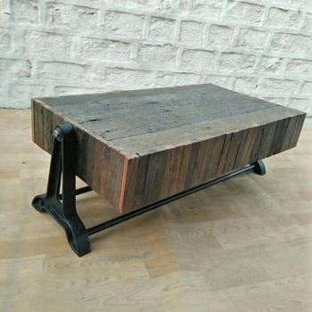 Industrial Vintage Rail Wood Coffee Table,vintage Sleeper Wood With Regard To Vintage Wood Coffee Tables (Image 12 of 40)