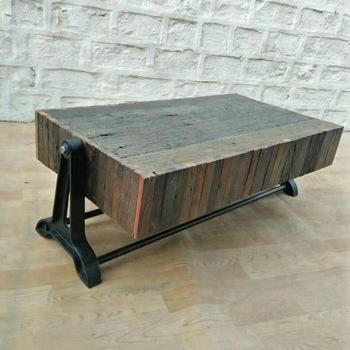 Industrial Vintage Rail Wood Coffee Table,vintage Sleeper Wood With Regard To Vintage Wood Coffee Tables (View 23 of 40)