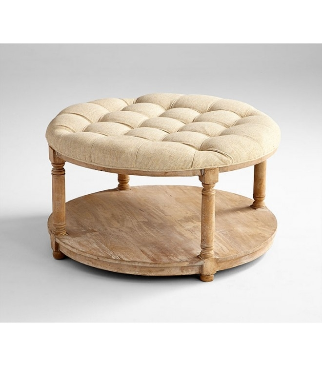Inspiration Of Round Tufted Ottoman And Fabulous Round Upholstered Regarding Round Button Tufted Coffee Tables (Photo 32 of 40)