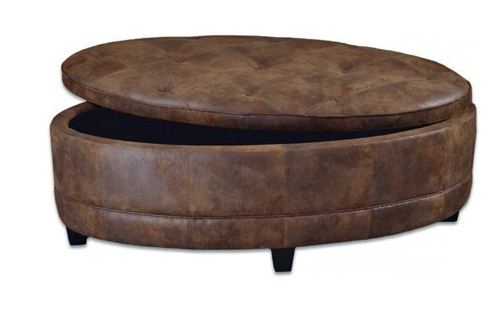 Inspiring Large Round Storage Ottoman With Endearing Large Round Pertaining To Round Button Tufted Coffee Tables (Image 16 of 40)