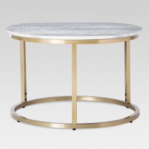 Interior Design For Coffee Table Marble Top In Threshold Target Within Smart Round Marble Brass Coffee Tables (Image 15 of 40)