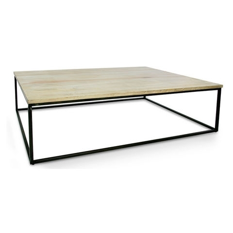 Iron Coffee Table W/wooden Top For Limewash Coffee Tables (View 33 of 40)