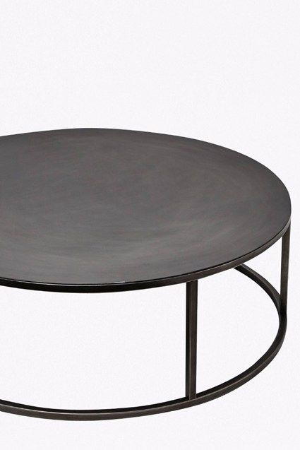 Iron Coffee Table With Gunmetal Finish – Circular Base | Interiors For Gunmetal Coffee Tables (Photo 3 of 40)