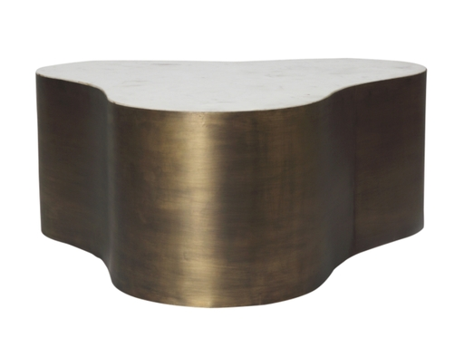 Iron & Marble Amoeba Coffee Table In Antique Brass : Found For The Home Within Antique Brass Coffee Tables (Image 23 of 40)