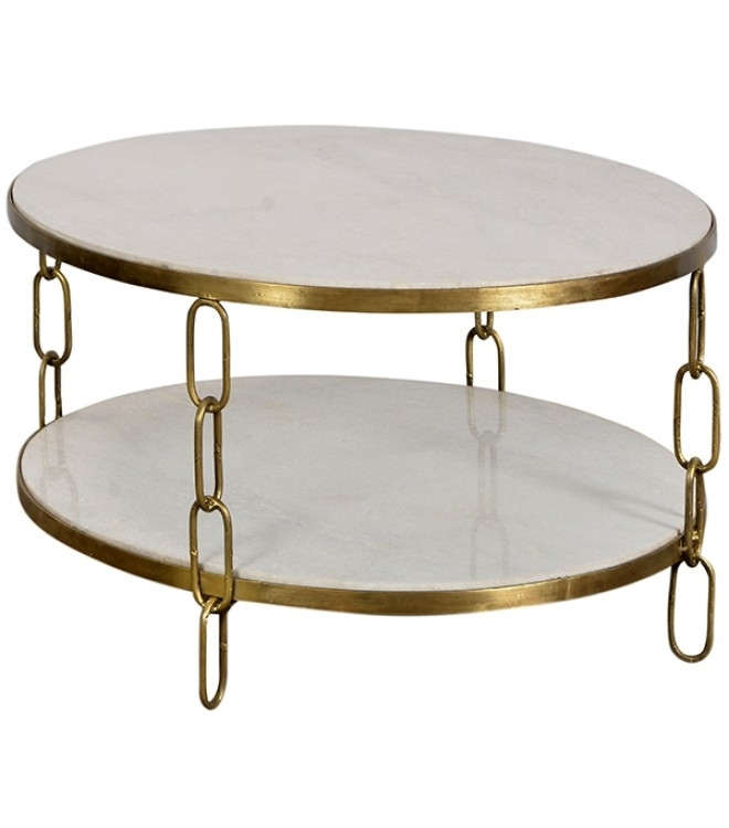 Iron & White Marble Link Chain Round Coffee Table Throughout Iron Marble Coffee Tables (Image 19 of 40)