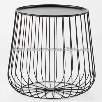 Iron Wire Side Coffee End Table Round Black / Gold Metal Top Throughout Black Wire Coffee Tables (Image 22 of 40)
