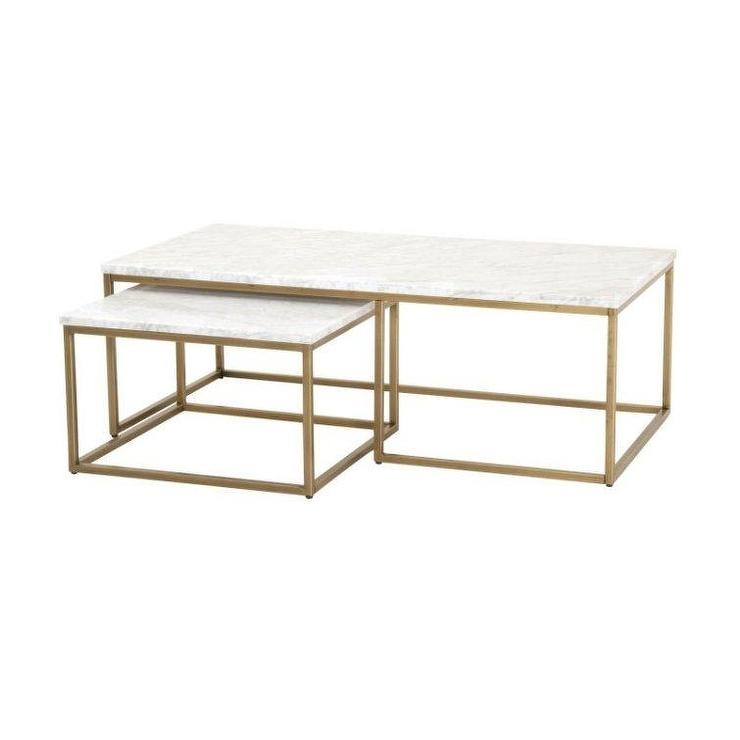 Isabelle Marble Brass Coffee Table In Rectangular Coffee Tables With Brass Legs (View 9 of 40)