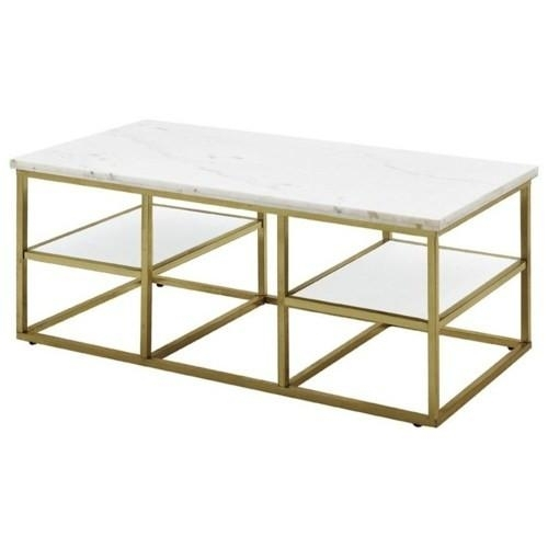 Isabelle Marble Brass Coffee Table With Rectangular Coffee Tables With Brass Legs (View 11 of 40)
