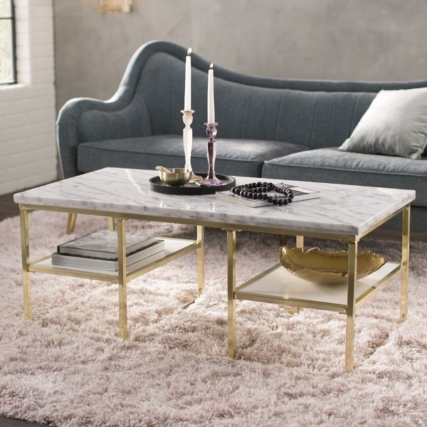 Italian Marble Coffee Tables | Wayfair In Iron Marble Coffee Tables (Image 20 of 40)