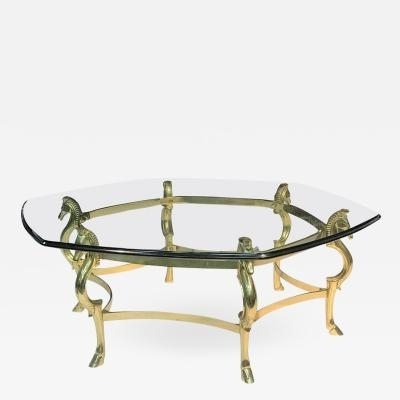 Italian Modernist Brass Seahorse Coffee Table For Joni Brass And Wood Coffee Tables (View 33 of 40)