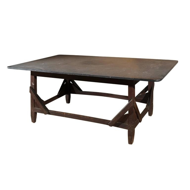 Italian Rustic Work Table With Bluestone Top And Stretchered Wooden With Regard To Bluestone Rustic Black Coffee Tables (Image 29 of 40)