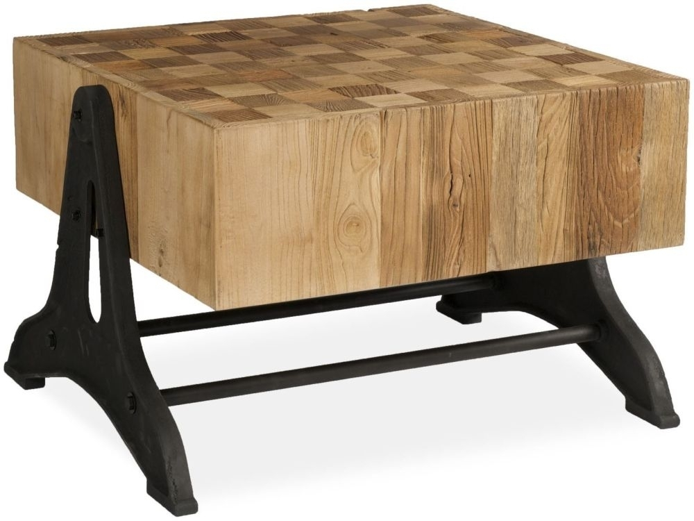 Ives Rustic Reclaimed Elm Chunky Iron Legs Coffee Table For Reclaimed Elm Iron Coffee Tables (Photo 22 of 40)
