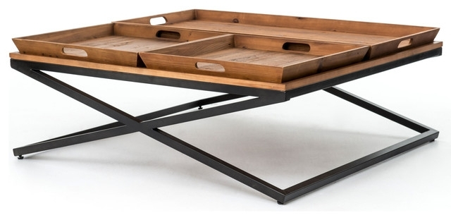 Jaxon Double Tray Top Wood Iron Industrial Rectangle Coffee Table For Jaxon Cocktail Tables (Image 20 of 40)
