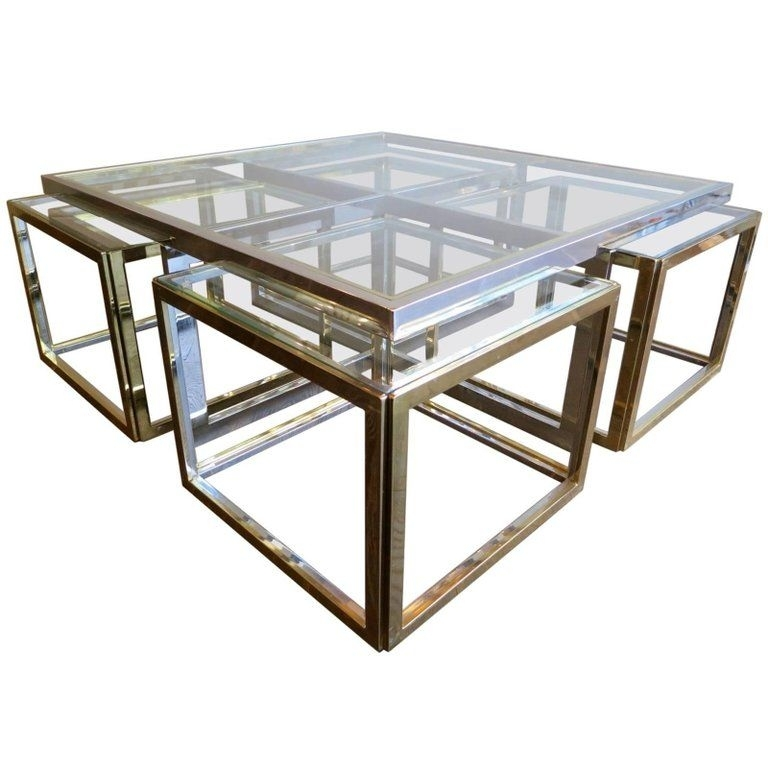 Jean Charles Brass & Chrome Nest Of Tables | The Kairos Collective Regarding Brass Iron Cube Tables (Image 22 of 40)