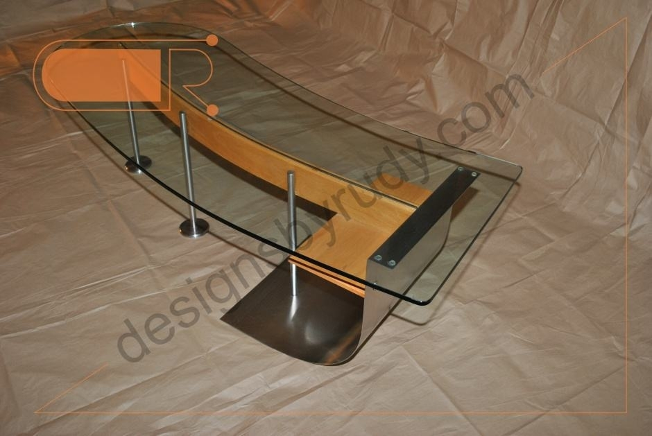 Jelly Bean Coffee Table, Glass Top, Stainless Steel, And Wood Frame In Jelly Bean Coffee Tables (Photo 5 of 40)