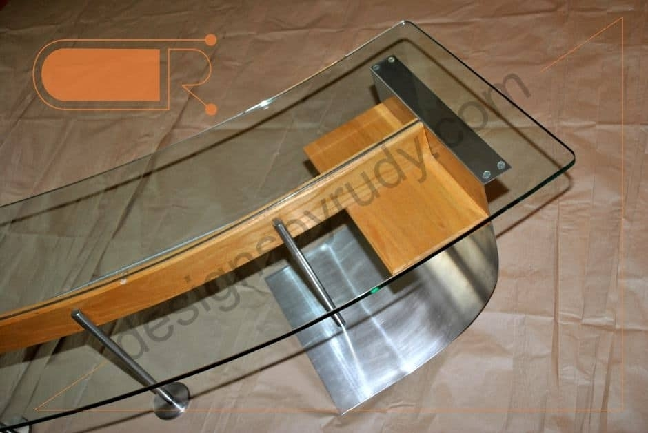Jelly Bean Coffee Table, Glass Top, Stainless Steel, And Wood Frame Intended For Jelly Bean Coffee Tables (Photo 12 of 40)