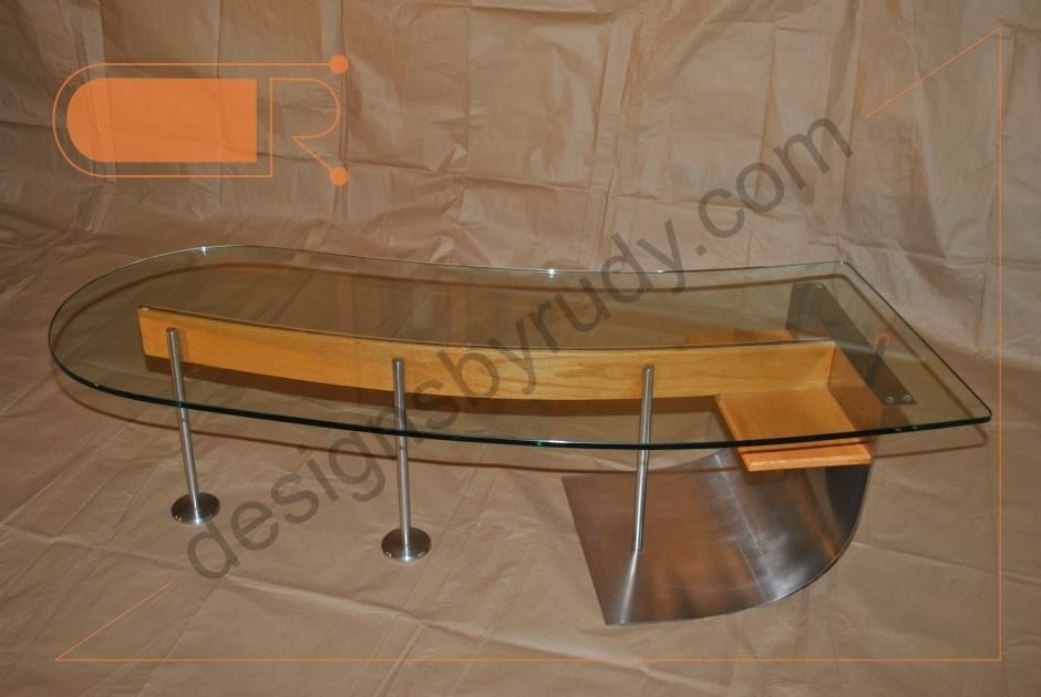 Jelly Bean Coffee Table, Glass Top, Stainless Steel, And Wood Frame Throughout Jelly Bean Coffee Tables (View 2 of 40)
