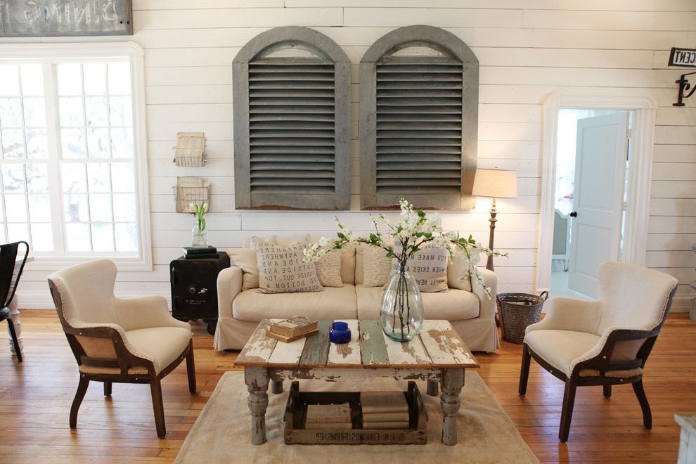 Joanna Gaines Age Shabby Chic Style Living Room And Area Rug Within Magnolia Home Louver Cocktail Tables (Image 10 of 39)