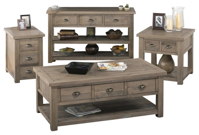 Jofran 940 1 4 Piece Reclaimed Pine Coffee Table Set – Traditional Within Reclaimed Pine Coffee Tables (Image 19 of 40)