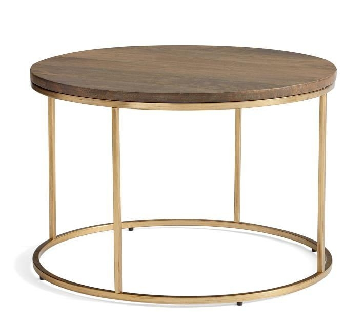 Joni Brass Rectangular Wood Coffee Table For Joni Brass And Wood Coffee Tables (Image 27 of 40)