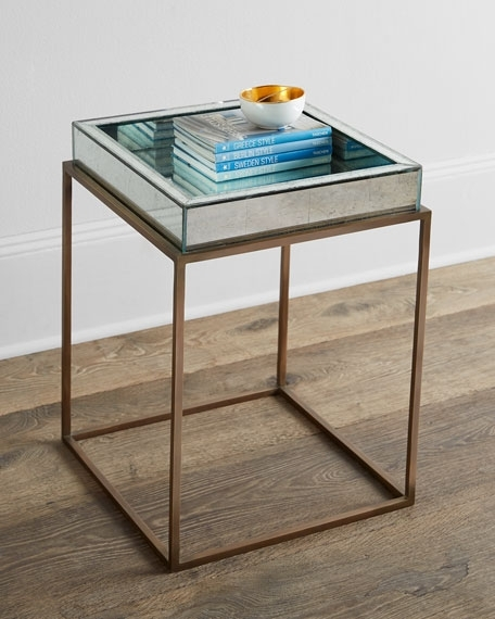 Joni Mirrored Top Tray Table Within Joni Brass And Wood Coffee Tables (Image 30 of 40)
