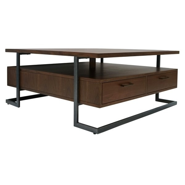 Jordan Walnut Finish Square 4 Drawer Modern Coffee Table – Free Regarding Walnut 4 Drawer Coffee Tables (View 21 of 40)